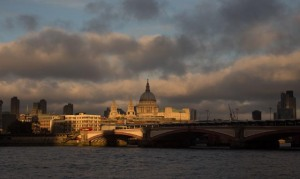 the winter sun catching St Pauls